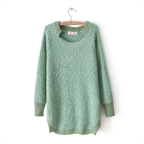 grxjy560585]Autumn Solid Color Sweet Loose Long Sweater Lambswool ...