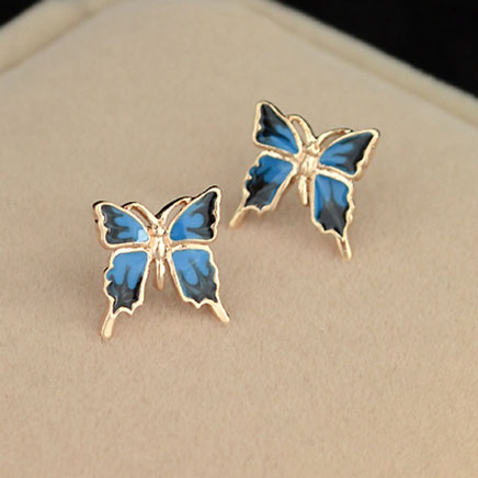 Grxjy5300139 Beautiful Erfly Blue Allergy Free Elegant Stud Earrings Accessory