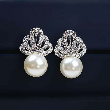 Grxjy5300153 Luxury Crown Pearl Stud Earrings Stylish Ear Clip For Wedding Party