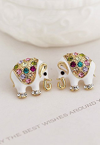 quality pequenos aretes gold brincos top pendientes shiny plated earrings little elephant crystal stud kawaii item cool color