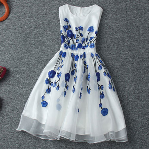 37fce81810c9 Vintage Contrast Color Blue Floral Embroidered Sleeveless White Dress [grxjy560958]