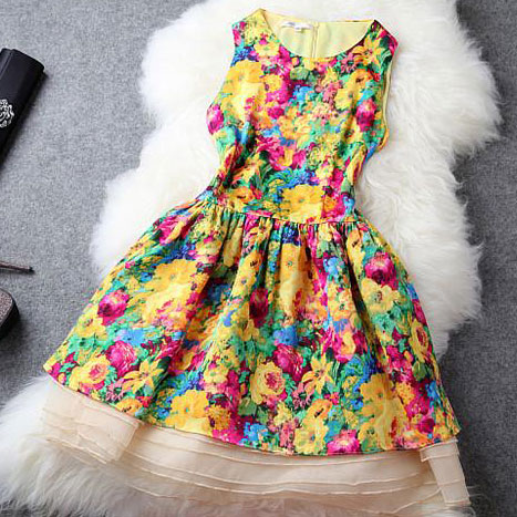 Bright Colors Flowers Print Bodycon Tank Dress Flared Skirt Grxjy560988