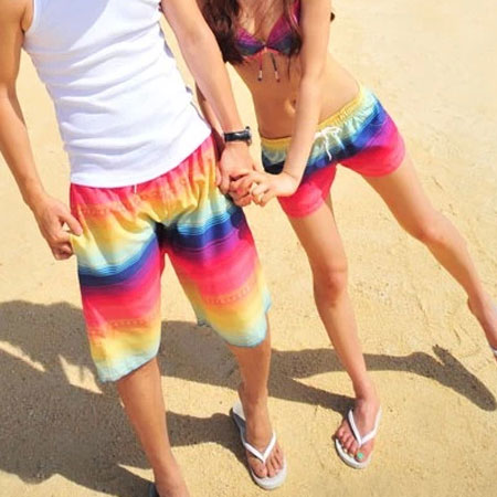 Matching Couple Swimsuit Colorful Print Bikini Top Shorts ...