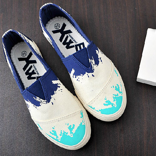 Casual Graffiti Spliced Contrast Color Slip On Canvas Flats [grxjy5190580]