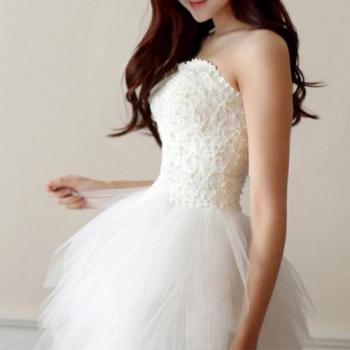 evening wedding party tube corset dress flared tulle skirt
